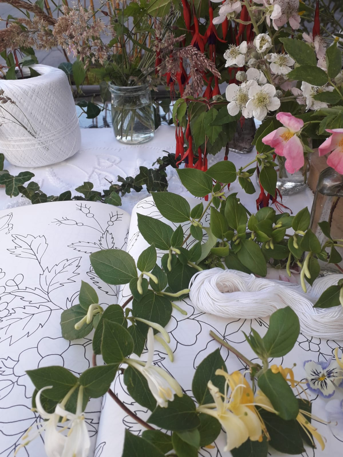 Local floral inspiration for Mountmellick Embroidery Patterns